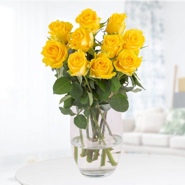 10 Gelbe Rosen (50cm)