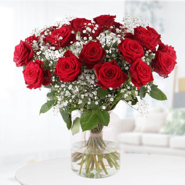 Rote Rosen mit Schleierkraut - Premium-Rosen (60cm)
