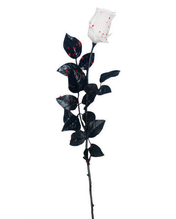 Weiße Rose mit Bluttropfen als Gothic Party Deko