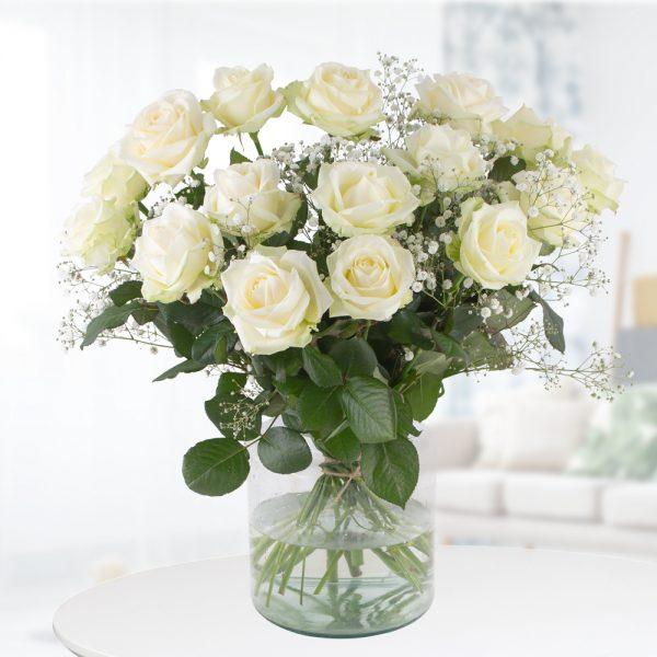 Weiße Rosen mit Schleierkraut - Premium-Rosen (60cm)